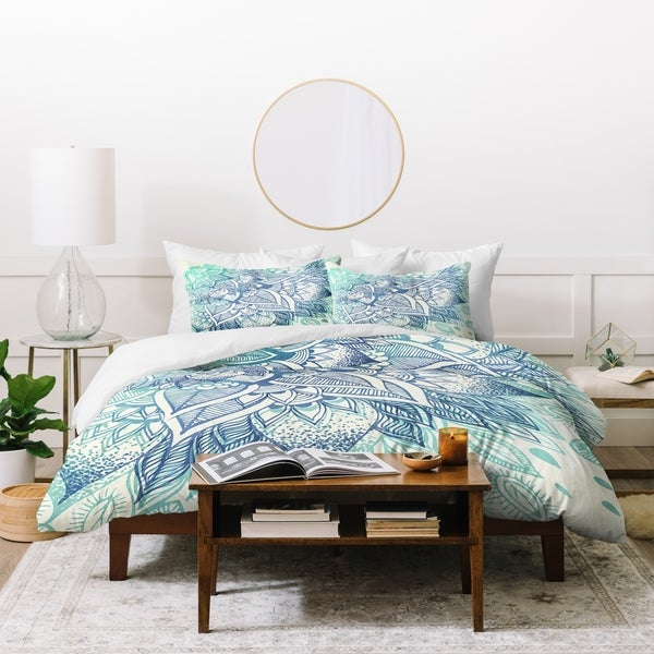 Deny Designs Shades of Blue Florals Duvet Cover Set (3-Piece Set)