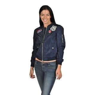 Women's Fashion Long Sleeve Polyester Patched Bomber Jacket Navy