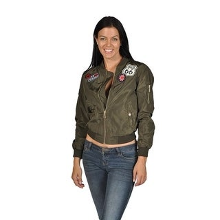 Women's Fashion Long Sleeve Polyester Patched Bomber Jacket Olive