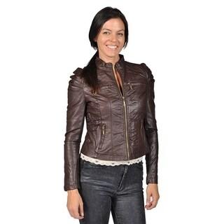 Jou Jou Womens Faux Leather Zip-up 4 Pocket Brown Jacket