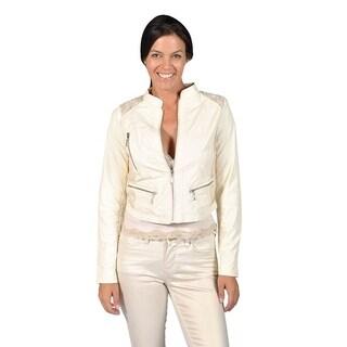 Jou Jou Faux Leather Laced Turtleneck Jacket (2 options available)