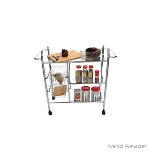 Mind Reader 3 Tier Metal Cart with 2 Wire Baskets, Silver