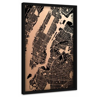 'Blackened NY' Painting Print on Canvas with Shadow Box