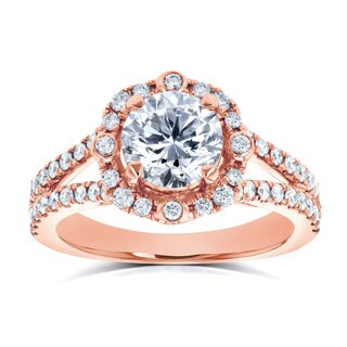 Annello by Kobelli 14k Rose Gold 1 1/2ct TDW Diamond Four Points Halo Split Shank Ring (Option: 6.5)