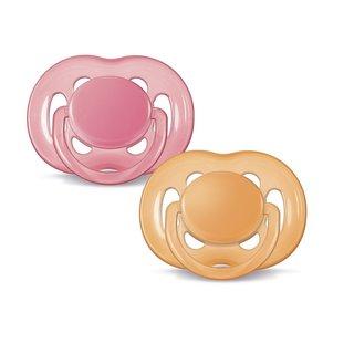 Philips Avent BPA Free Freeflow Pacifier - 6-18 Months - 2 Pack - Pink/Orange