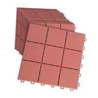 Interlocking 11 X 11 Inches Faux Brick Patio Walkway Pavers- Set of 12