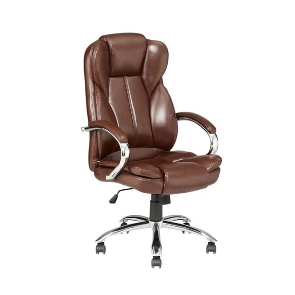 High Back PU Leather Office Desk Task Computer Chair Metal Base