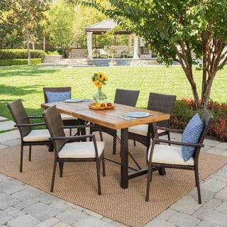 Laguna Outdoor 7-Piece Rectangle Wicker Wood Dining Set with Cushions by Christopher Knight Home
