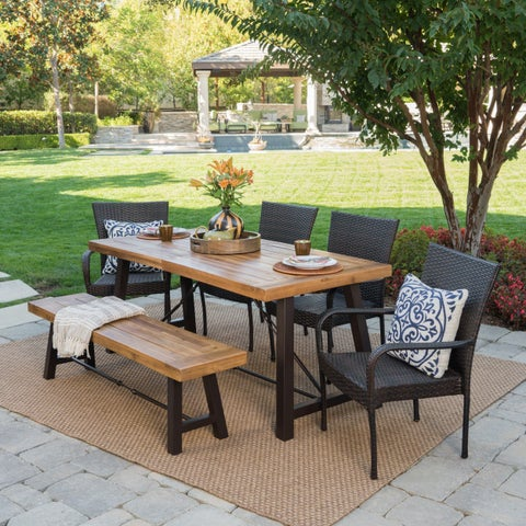 Salons Outdoor 6-Piece Rectangle Wicker Wood Dining Set by Christopher Knight Home