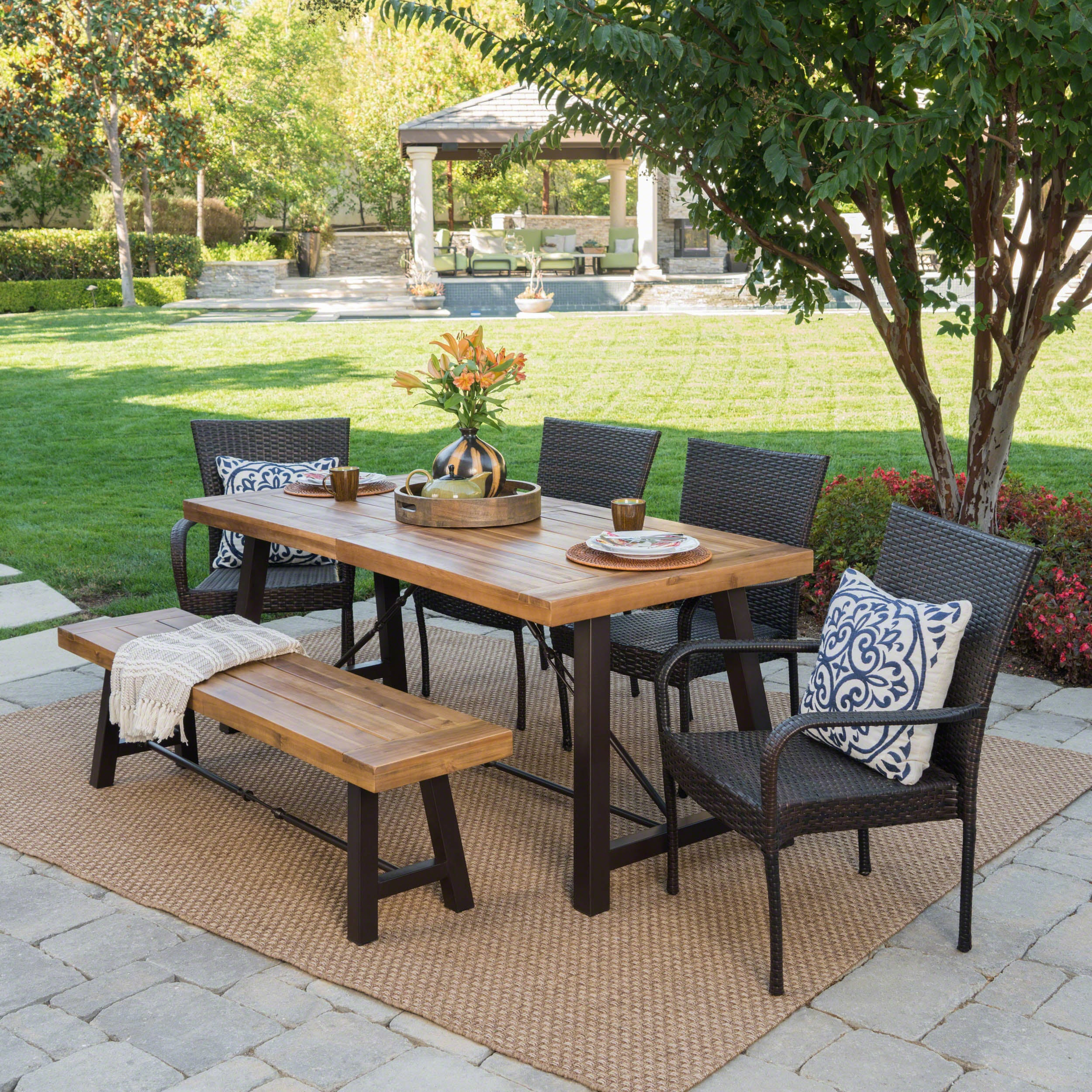 Salons Outdoor 6 Piece Rectangle Wicker Wood Dining Set By Christopher  Knight Home