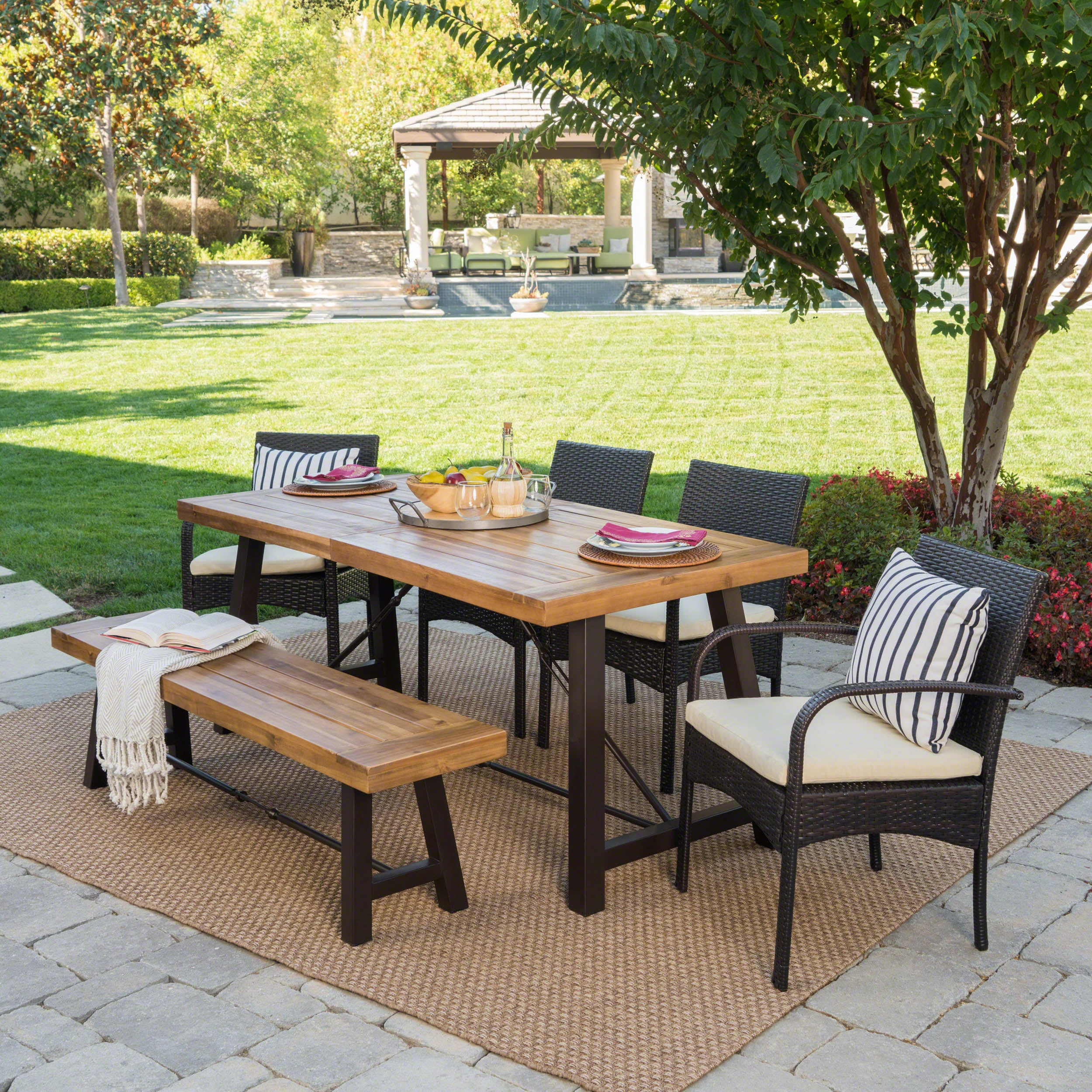 Betsys Outdoor 6 Piece Rectangle Wicker Wood Dining Set With Cushions By Christopher Knight Home