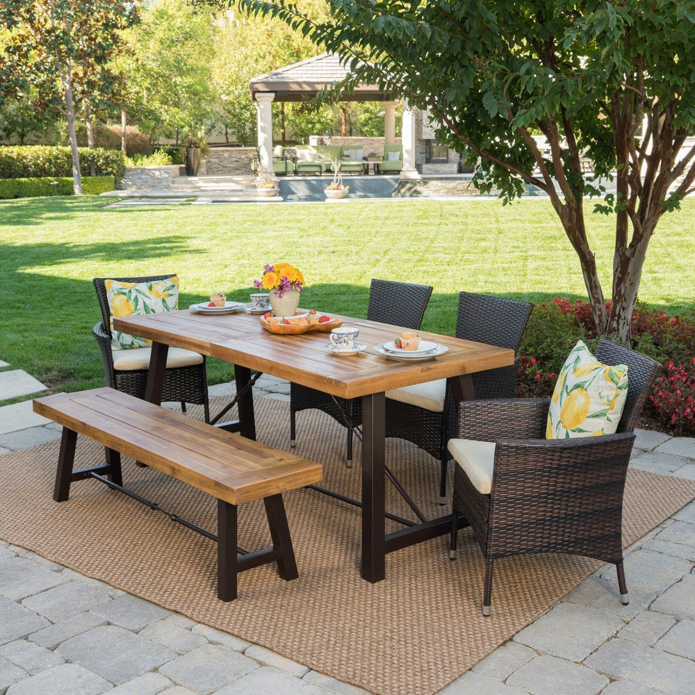 Christopher Knight Home Jennys Outdoor 6-Piece Rectangle Wicker Wood Dining Set with Cushions
