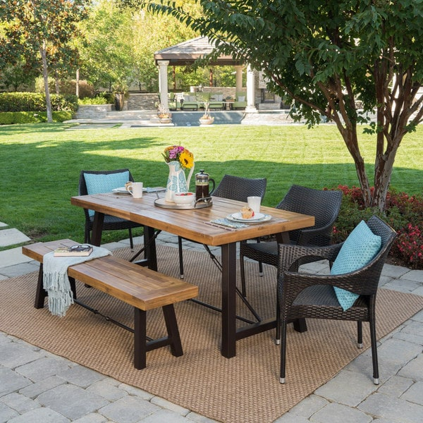 Montgomery Outdoor 6-Piece Rectangle Wicker Wood Dining Set by Christopher Knight Home