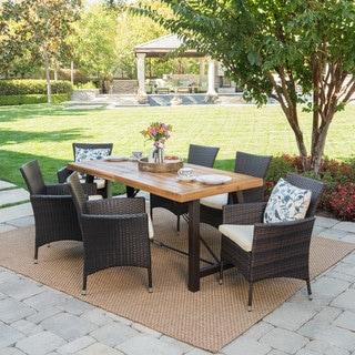 Link to Torrens Outdoor 7-Piece Rectangle Wicker Wood Dining Set with Cushions by Christopher Knight Home Similar Items in Patio Furniture