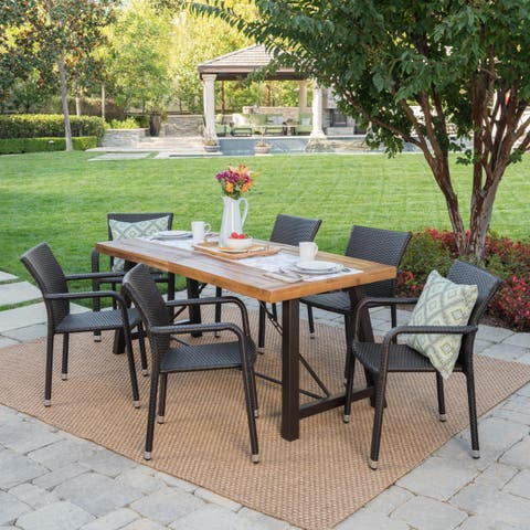 Spencer Outdoor 7-Piece Rectangle Wicker Wood Dining Set by Christopher Knight Home