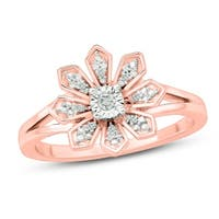 Cali Trove 1/20 CT Round Diamond Floral Fashion Ring In Sterling Silver Plated in 2 Micron Rose Gold. - White