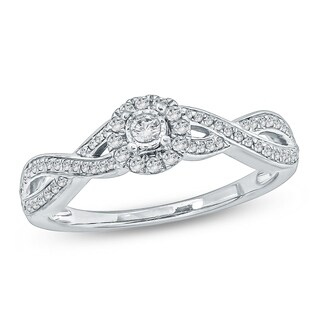 Cali Trove 1/4 CT Round Diamond Hola Promise Ring In 10K White Gold.
