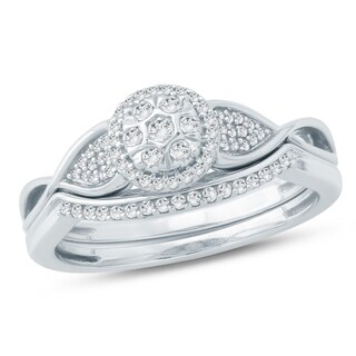 1/5 CT Round Diamond Wedding Engagement Set In Sterling Silver. - White