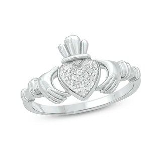 Cali Trove 1/20 CT Round Diamond Claddagh Fashion Ring In Sterling Silver. - White
