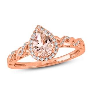 Cali Trove 1/20 CT Round Diamond & Pear Shape Morganite Fashion Ring In 10K Rose Gold. - White