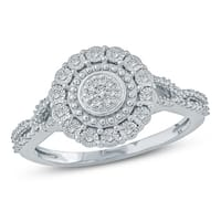 Cali Trove 1/20 CT Round Diamond Cluster Miracle Plate Fashion Ring In Sterling Silver. - White