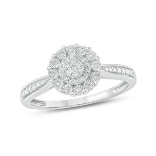 1/20 CT Round Diamond Cluster Miracle Plate Fashion Ring In Sterling Silver. - White