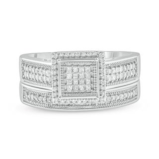 5/8 CT Round & Princess Cut Diamond Cluster Wedding Engagement Set In Sterling Silver. - White