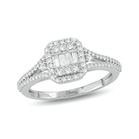 Cali Trove 1/2 CT Round & Baguette Diamond Cluster Engagement Ring In 10K White Gold.