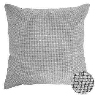 Woven Faux Linen Throw Cushion Pillow Cover Light Grey 18 x 18