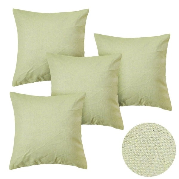 Shop Lime Green Faux Linen Throw Pillow Cover 18 Inch Set Of 4