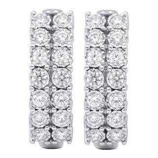 10KT White Gold 1cttw Diamond Hoop Earrings