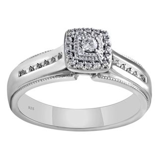 Sterling Silver 1/4cttw Diamond Engagement Ring - White