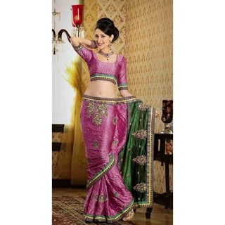 Dayanita Deep Pink Faux Crepe Luxury Party Wear Sari saree