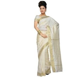 Cream Art Silk Saree Sari fabric India Golden Border