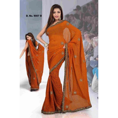 Ajastha Fancy festival wear designer Georgette Sari with sequin design