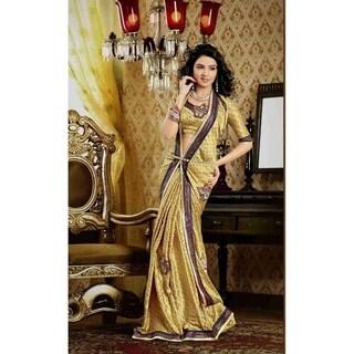 Darpana Golden Faux Crepe Luxury Party Wear Sari saree