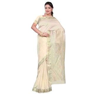 Cream - Benares Art Silk Sari / Saree/Bellydance Fabric (India)