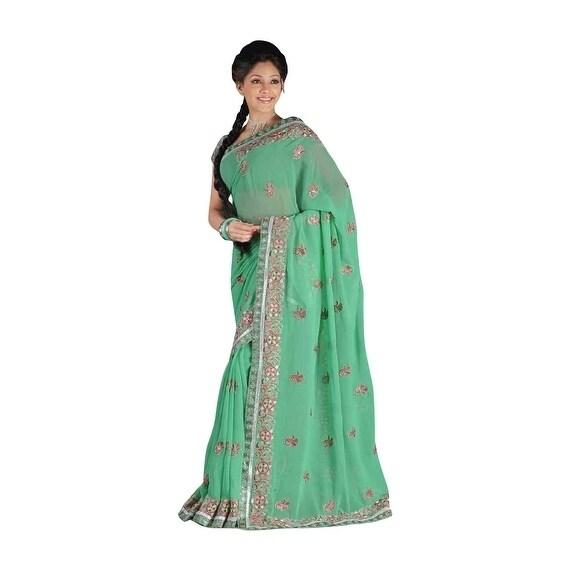 68caf6ce74af2 Ansha Green Georgette Designer Party Wear Sari saree