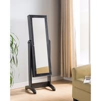 Fine Quality Jewelry Cheval With Elegant Mirror Door, Black