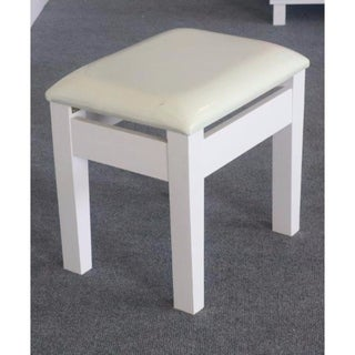 Dressing Stool With Padded Upholstery, White