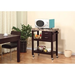 Modish Kitchen Cart With Faux Marble Top & 2 Drawers.