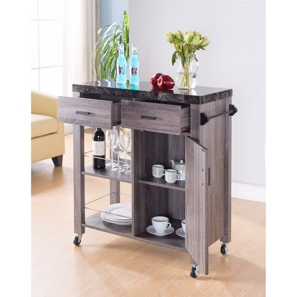 Spacious Kitchen Cart With Marble Top, Gray