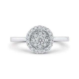 10K White Gold 1/3ct TDW Diamond Cluster Ring (IJ-I1)