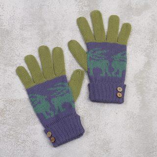 Handmade Alpaca Blend 'Inca Landscape' Gloves (Peru)