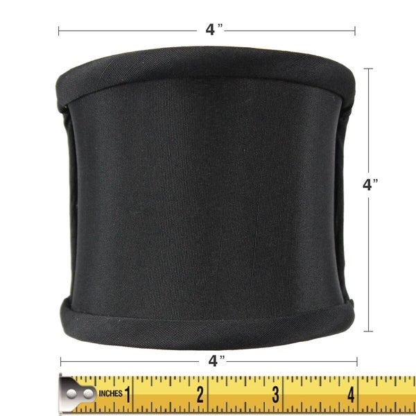 4x4x4 Crisp Shantung Black Fabric Clip-On Sconce Half-Shell Lampshade