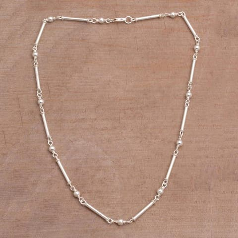"""Handmade Sterling Silver 'Luminous Rods' Necklace (Indonesia) - 7'6"""" x 9'6"""""""