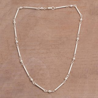 Handmade Sterling Silver 'Luminous Rods' Necklace (Indonesia)