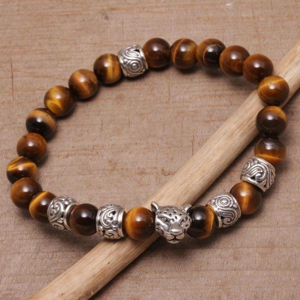 Handmade Men's Sterling Silver 'Leopard Strength' Tiger's Eye Bracelet (Indonesia)