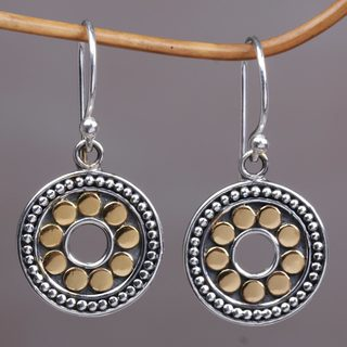 Handmade Gold Accented Sterling Silver 'Blissful Sunflowers' Earrings (Indonesia)