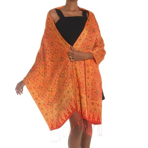 Handmade Silk 'Serene Garden' Shawl (Indonesia)